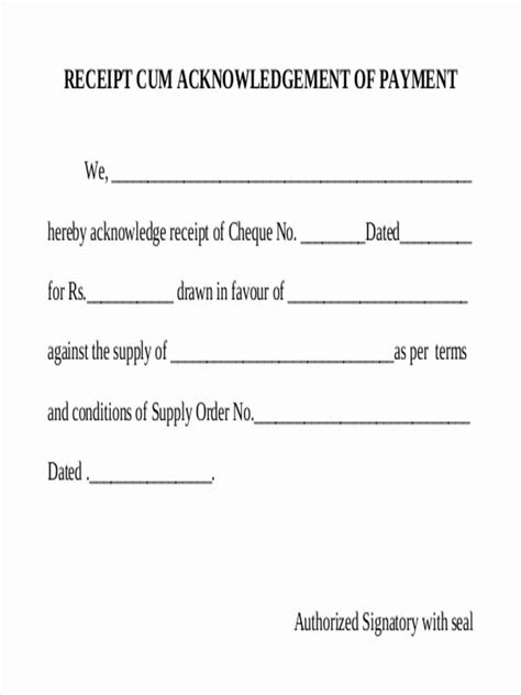 acknowledgement of documents receipt template acknowledgement receipt of payment receipt template