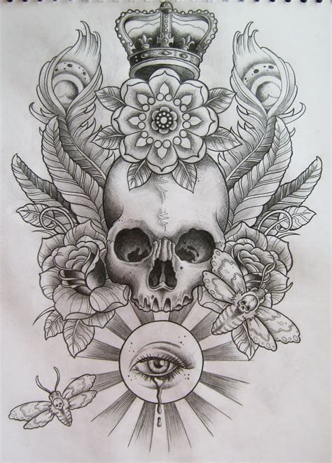 no kings tattoo beautiful skull pencil sketch with soft shading