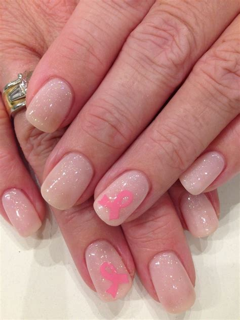 Ribbon Nail Glitter bio sculpture gel 68 with iridescent glitter overlay breast cancer ribbons nails