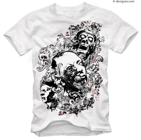 Kaos Skull Flower 4 designer stylish horror skull t shirt pattern vector