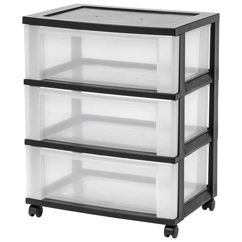 3 Drawer Cart On Wheels 3 Drawer Storage Cart With Wheels Black At Home