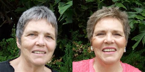 coloring gray hair before and after hair colouring with plant dyes
