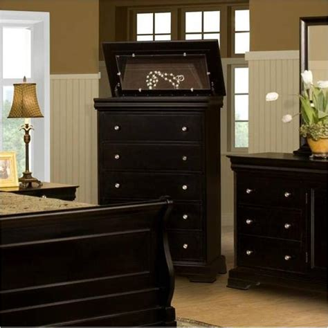 belle rose bedroom set 00 013 070 new classic furniture 5 drawer lift top chest