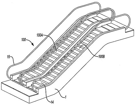 escalator section patent drawing of escalator sketch coloring page