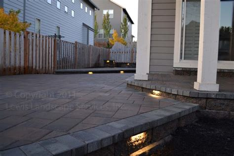 Patio Paver Lights Paver Patio Seat Wall Pit Outdoor Lighting Landscaping Modern Patio Portland By