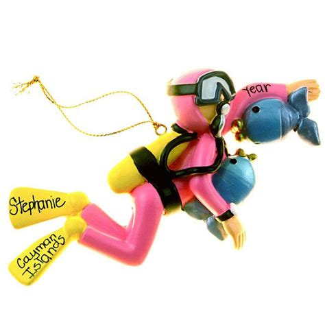 female scuba diver christmas ornament personalized