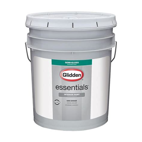 home depot 5 gallon interior paint glidden essentials 5 gal white semi gloss interior paint