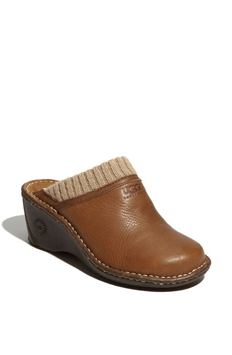 ugg clogs for ugg gael wedge clog in brown gravy lyst