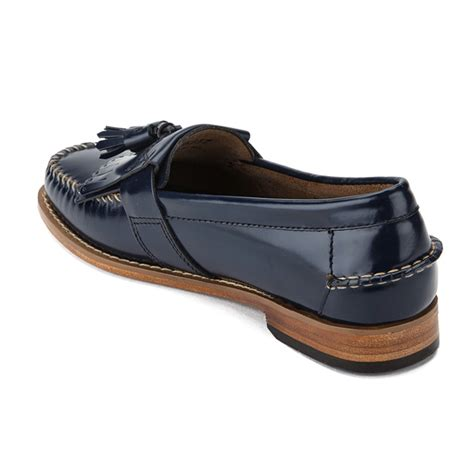 navy leather loafers bass weejuns s elspeth kiltie leather loafers navy