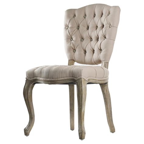 French Country Tufted Hemp Linen Piaf Dining Chair Kathy Tufted Dining Chairs