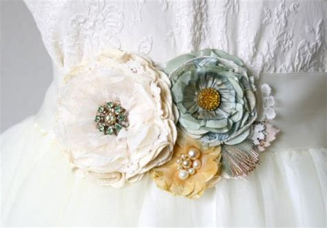 St Green Flowerbelt robins egg blue and yellow floral bridal sash wedding dress belt with fabric flowers mint and