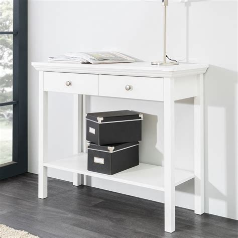 Flatpack Sofa Country Console Table In White With 2 Drawers 28080