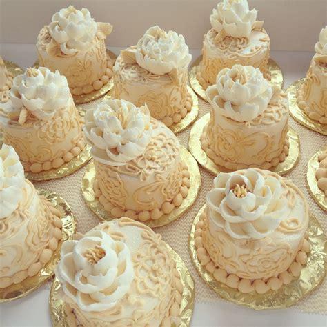 miniature cakes and wedding cake 60 miniature cakes plus a victorian buttercream mini cakes cakecentral com