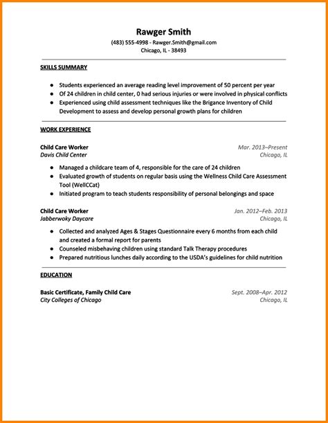 Sle Resume For Child Care Worker by Resume For Child Care Worker 28 Images 10 Daycare Resume Worker Resume Sle Child Care