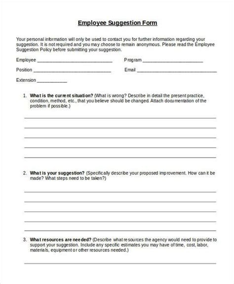 employee suggestion form template sle employee suggestion forms 7 free documents in