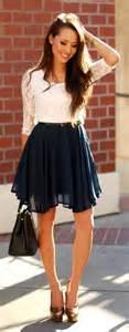white lace top navy blue pleated skirt basic black belt