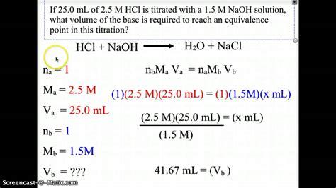 acid base titration equivalence point youtube