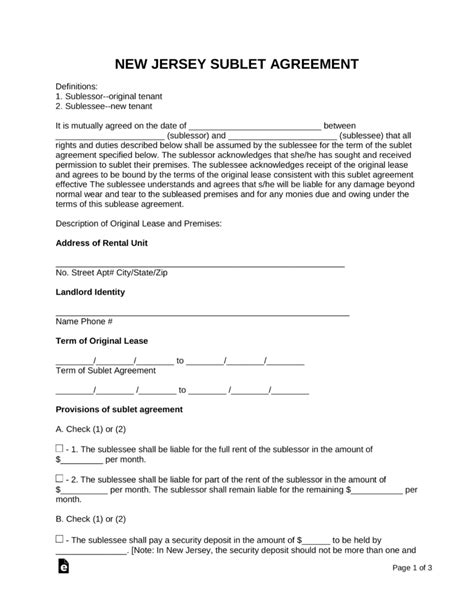 Free New Jersey Sublease Agreement Form Pdf Word Eforms Free Fillable Forms Rental Lease Agreement Nj Template