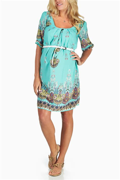 9615 Belted Paisley Print Dress mint green paisley print belted maternity dress