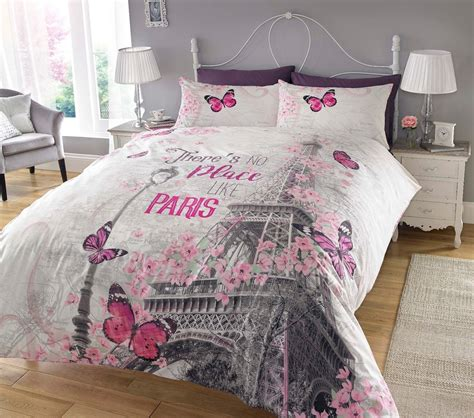 paris bedding full paris romance bedding twin full queen duvet cover set eiffel tower pink flowers