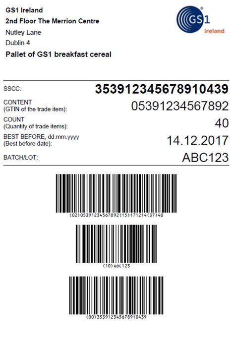 Sle Gs1 Pallet Label Layout With A Serial Shipping Container Code Sscc In A Gs1 128 Barcode Pallet Tag Template