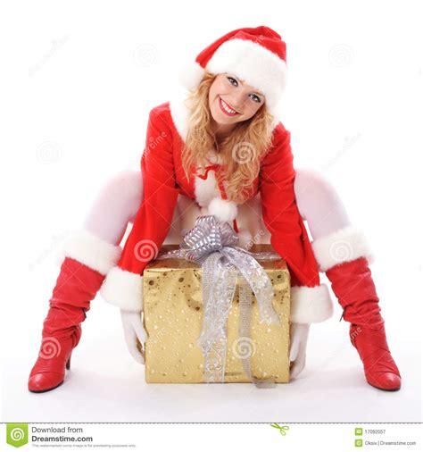 Text Santa Gift Card - christmas santa girl with gift royalty free stock photography image 17092057