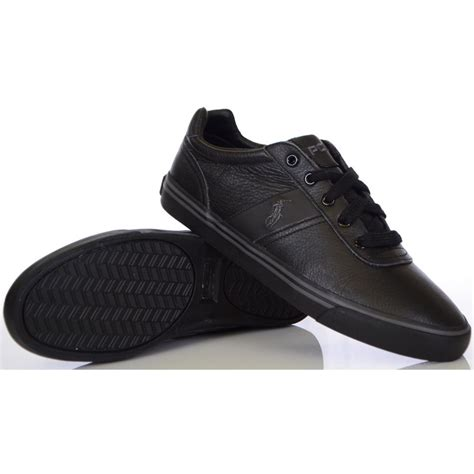 black leather shoes ralph shoes black hanford tumbled leather trainer