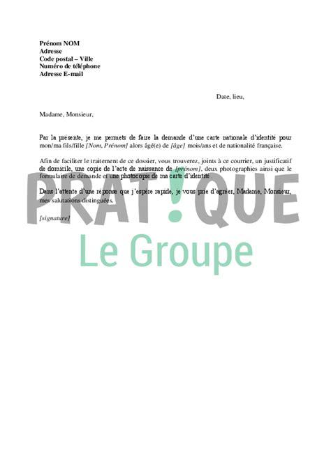 Lettre Demande De Jardin Familial Lettre De Demande De Carte Nationale D Identit 233 Pour Un Mineur Pratique Fr