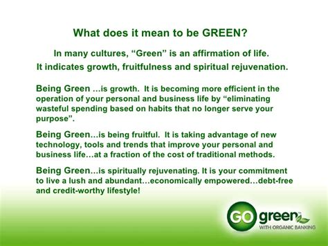 what does being a go green power point presentation 2