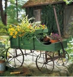 decorative wooden wagon planter garden yard outdoor decor new