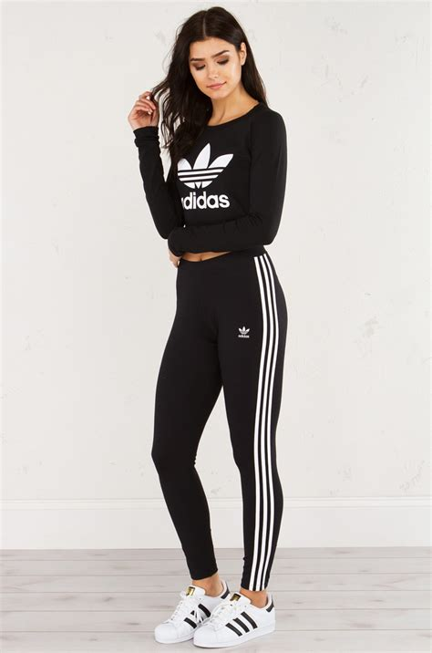 adidas graphic long sleeve cropped top  black