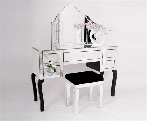 glass dressing table complete venetian mirrored glass dressing table set with