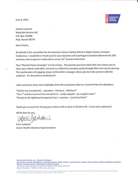 Cancer Research Society Letter Of Intent Testimonial Letters Musician Lustman Cancer Survivor