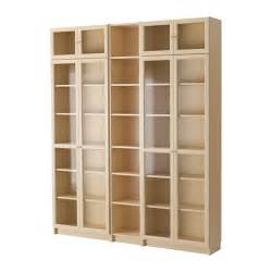 billy oxberg bookcase birch veneer 200x237x28 cm ikea