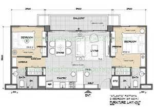 Table Layout Fixed Apartments In Atlantis Condo Resort Pattaya Plans
