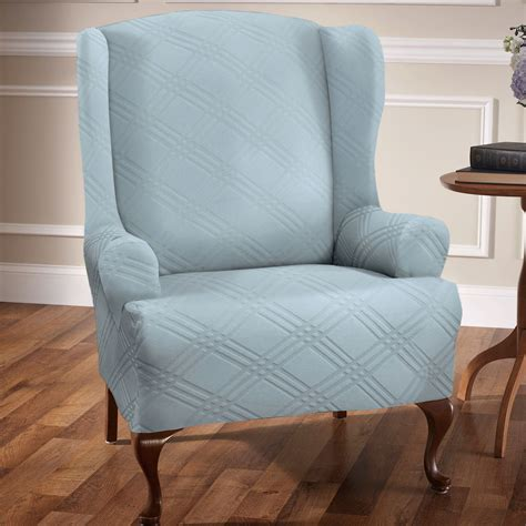 stretch wingback sofa slipcover double stretch wing chair slipcovers