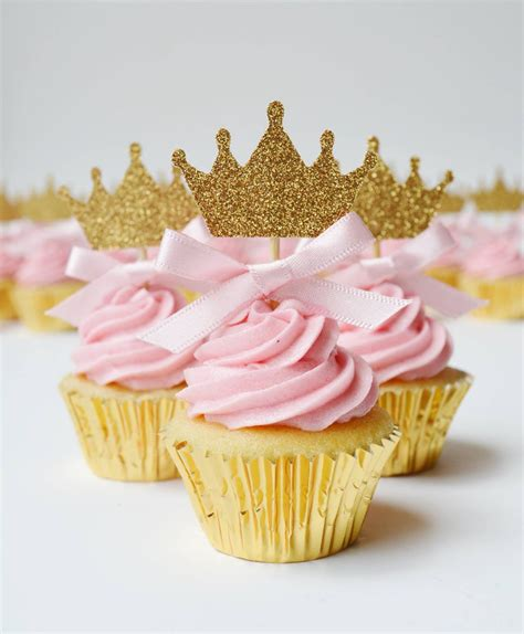 food toppers princess crown cupcake toppers with pink bow detail