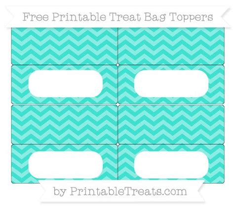 Free Turquoise Chevron Simple Treat Bag Toppers Treat Bag Toppers Printables Pinterest Free Printable Bag Toppers Templates