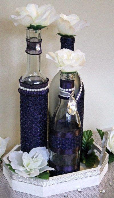set 3 decorated wine bottle centerpiece lapis sparkle