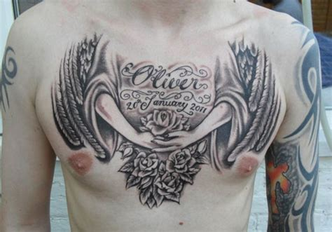angel chest tattoos for men top tattoos de angeles para hombres images for