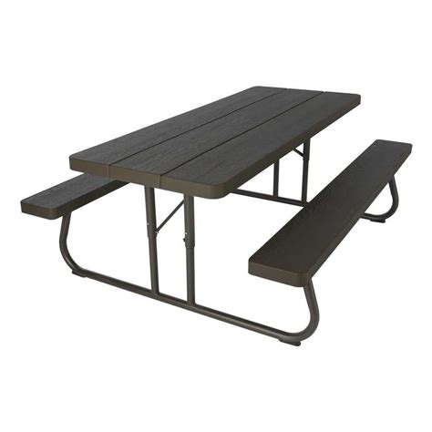 plastic folding picnic table bench lifetime 6 folding outdoor picnic table brown 60110
