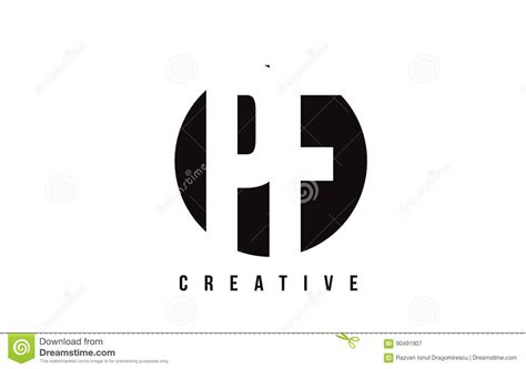Pf P pf p f white letter logo design with circle background