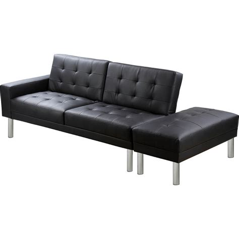 Ottoman Sofa Beds Modern Faux Leather Sofa Bed With Ottoman In Black Buy Sofa Beds