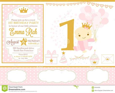 Happy Birthday Princess Card Template by Pink And Gold Princess Decor Happy Birthday