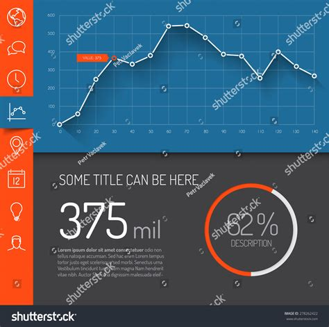 Dashboard Template Graphs Charts Simple Minimalistic Stock Vector 278262422 Shutterstock Infographic Dashboard Template