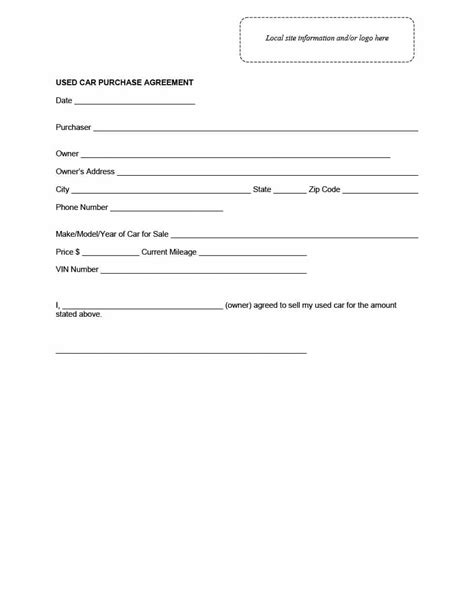 vehicle purchase agreement letter 42 printable vehicle purchase agreement templates