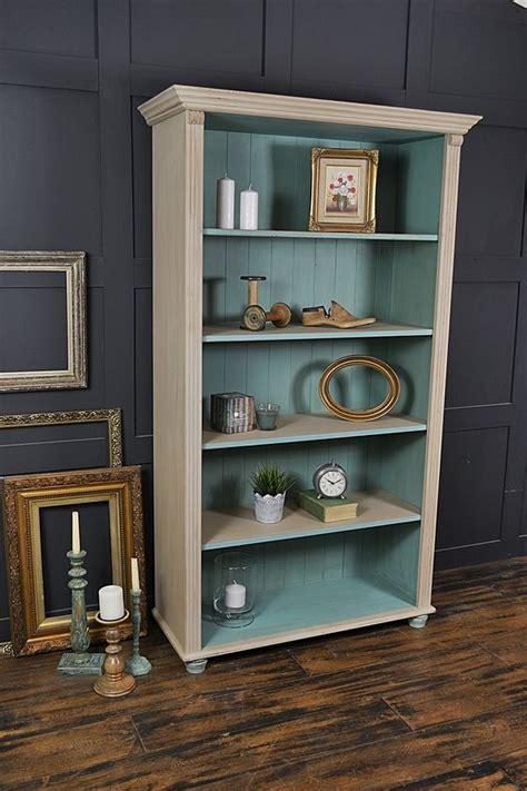 chalk paint bookshelf shabby chic pine bookcase with bun artwork