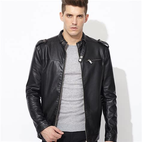 black leather jacket stand collar autumn new s