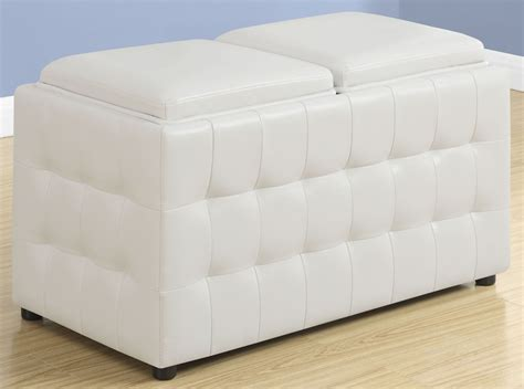 Ottoman White Leather White Leather Storage Trays Ottoman 8925 Monarch