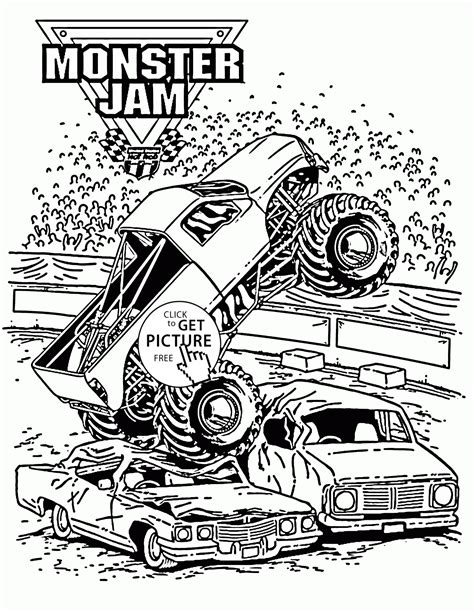 Smashing Monster Truck Jam Coloring Page For Kids Jam Coloring Pages